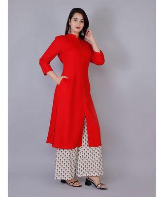 Women red Rayon Solid Kurta with Printed Cotton Plazoo Set