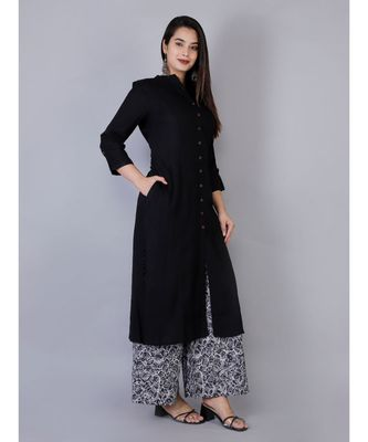 Women black Rayon Solid Kurta with Printed Cotton Plazoo Set