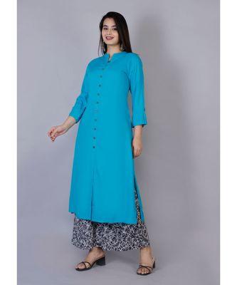 Women blue Rayon Solid Kurta with Printed Cotton Plazoo Set