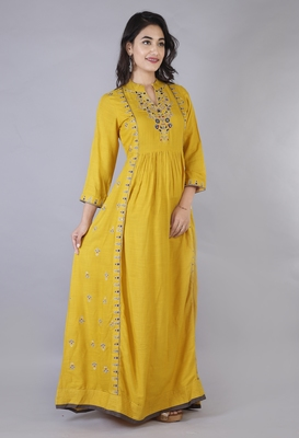 Women Viscose Embroidered Flair Dress