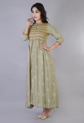 Women Viscose Embroidered Flair Dress