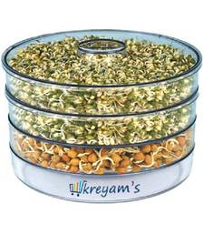 kreyam's? Sprout Maker for Home Plastic Box 4 Container White, Clear