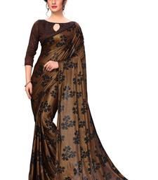 Brown Printed silk blend Designer Saree With Blouse