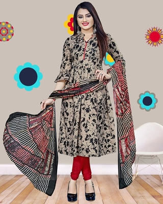 Beige abstract print cotton salwar