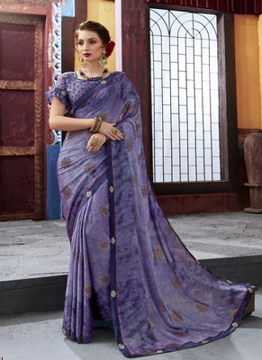 violet printed chiffon saree with blouse
