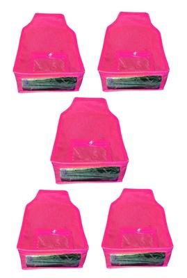 Atorakushon® Non woven Fabric Saree Cover Blouse Cover Garments Storage Bag Wardrobe Organiser Pack of 5 (Pink)