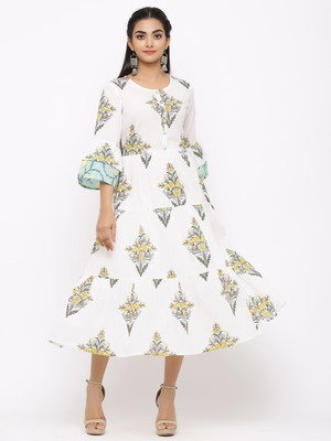 Women's  white Cotton Floral Printed Tired Kurta