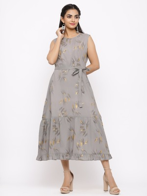 Women's  grey Cotton Floral Printed Tired Kurta