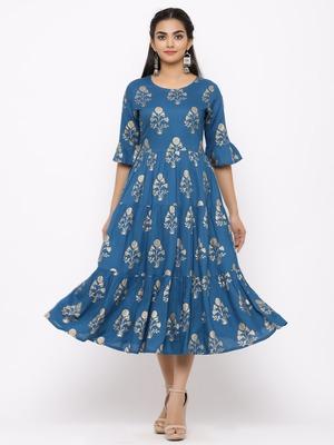 Women's  blue Rayon Printed Tired Kurta
