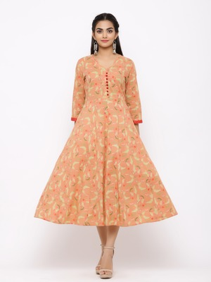 Women's  peach Cotton Printed Anarkali Kurta