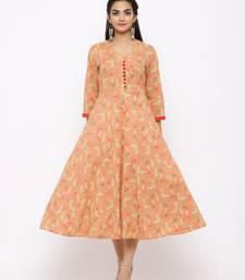 Women's  peach Cotton Printed Anarkali Kurta