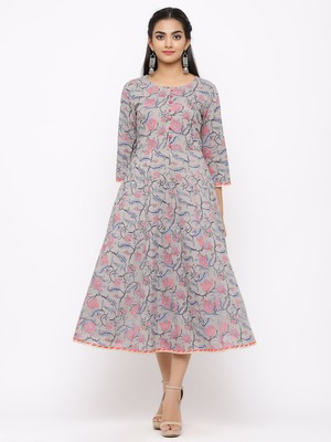 Women's  grey Cotton Printed Anarkali Kurta
