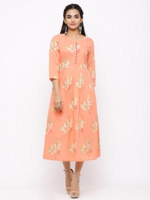Women's  peach Cotton Printed A-line Kurta