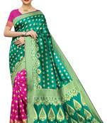 Buy GREEN & PINK  WOVEN BANARASI SILK SAREE WITH BLOUSE