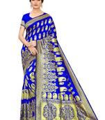 Buy ROYAL BLUE  WOVEN BANARASI SILK SAREE WITH BLOUSE