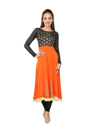 KUKN082 Viscose Knit Orange & black Long Kurti