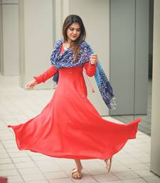 Red Rayon Fit and Flare Dress