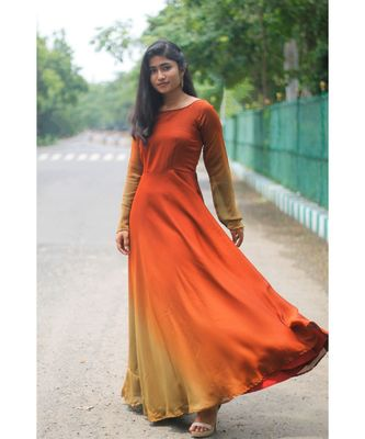 Rust Brown Satin georgette Fit and Flare Dress