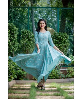 Blue Cotton slub Fit and Flare Dress