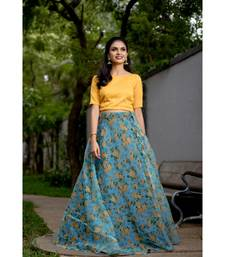 Yellow Blue Organza Crop top and Skirt
