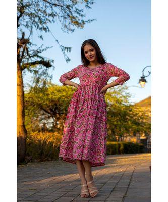 Pink Cotton  Hand Block Printed Midi  Dress