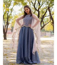 Silk Slub   Fit and Flare outfit   with Embroiderd Cape