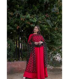 Silk Slub   Fit and Flare Anarkali with Embroidered Net Dupatta
