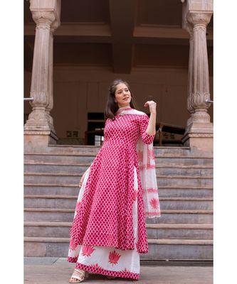 Hand Block Printed  Cotton Kurta,Skirt and Chiffon Dupatta Set