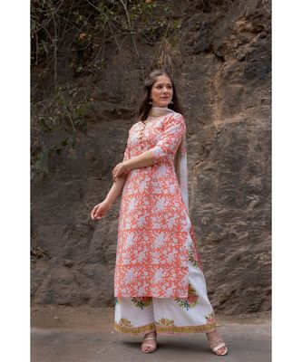 Hand Block Printed  Cotton Kurta,Palazzo and Chiffon Dupatta Set