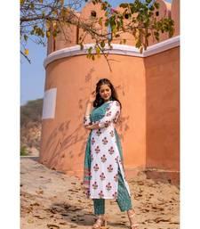 Hand Block Printed  Cotton Kurta,Pants and Chiffon Dupatta Set