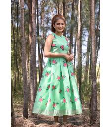 Floral Printed L inen Cotton   Fit and Flare Midi Dress. (Sleeve Fabric Attached Inside)