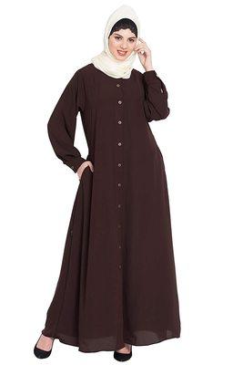 Islamic Lifetstyle Islamic Lifetstyle Front open Abaya-Brown |Nida Matte Fabric