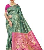 Buy GREEN WOVEN BANARASI SILK SAREE WITH BLOUSE