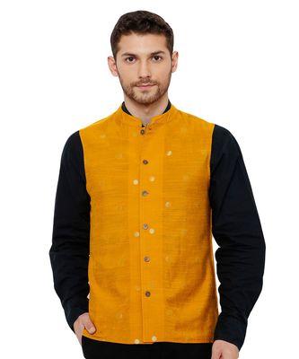Men's Cotton Self weaving Mustard Colour sleeveless reversible Nehru Jackets