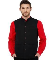 Men's Cotton Self weaving Black Colour sleeveless Nehru Jackets