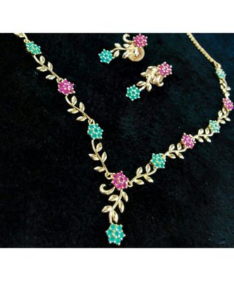 Georgeous high gold plated multicolour stones necklace set