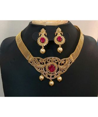 Georgeous high gold plated ruby necklace with ear rings