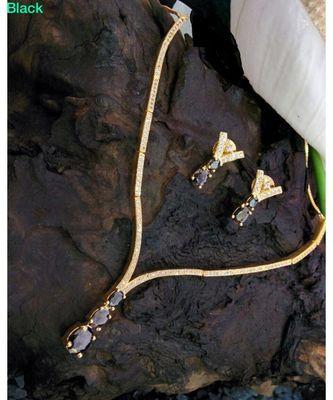 Black agate Zirconia stones necklace set