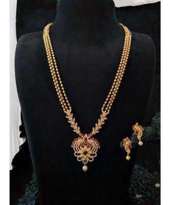 Pink agate Zirconia stones necklace set