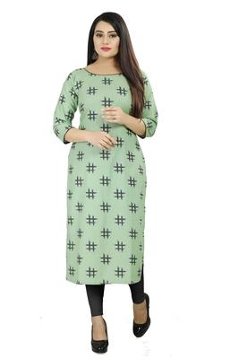 Sea-green printed cotton poly cotton-kurtis