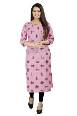 Pink printed cotton poly cotton-kurtis