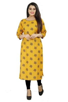 Yellow printed cotton poly cotton-kurtis