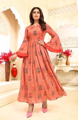 Navraj Fashion Women's Orange Floral Printed Rayon Flared Gown Kurta