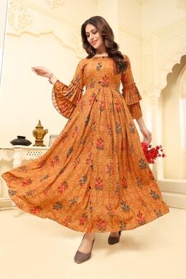 Navraj Fashion Women's Orange Floral Printed Rayon Gown Kurta With Double Flute Sleeves