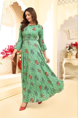 Navraj Fashion Women's Green Floral Printed Rayon Gown Kurta With Flute Sleeves