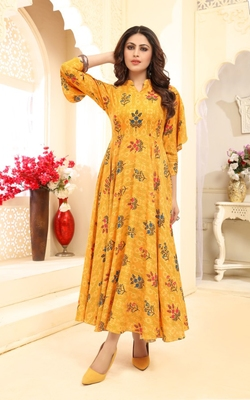 Women's Yellow Floral Printed Rayon Gown Kurta With Slit Sleeves