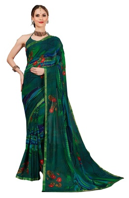 Party wear attractive Look printed Lace Border  work saree