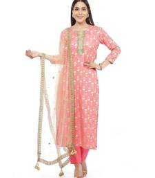Smiling Peach Straight Kurti with Straight Pants and Mirror Stone Dupatta