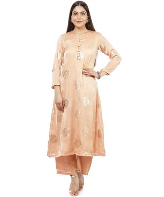 Gold Blush Foil Straight Kurti with Straight Palazzo