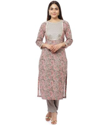 Floral Gray Gotta Straight Kurti with Straight Pants